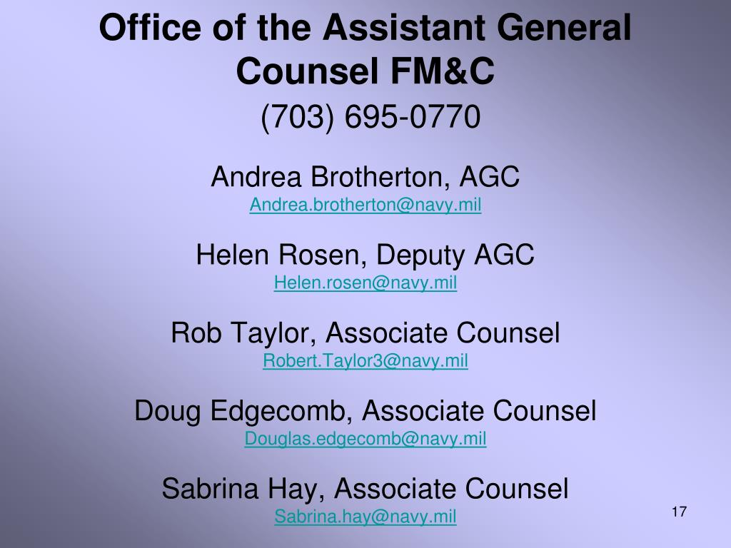 Office of the Assistant General Counsel FM&C