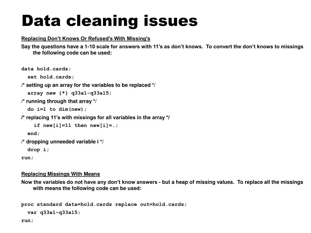 Data cleaning issues