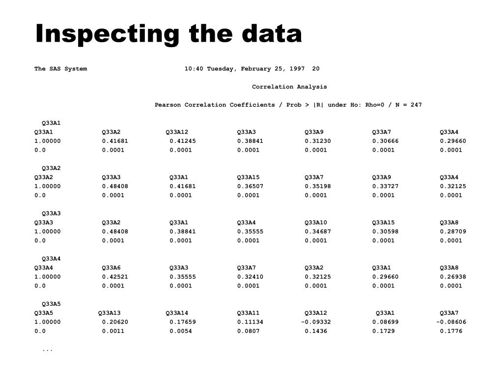 Inspecting the data