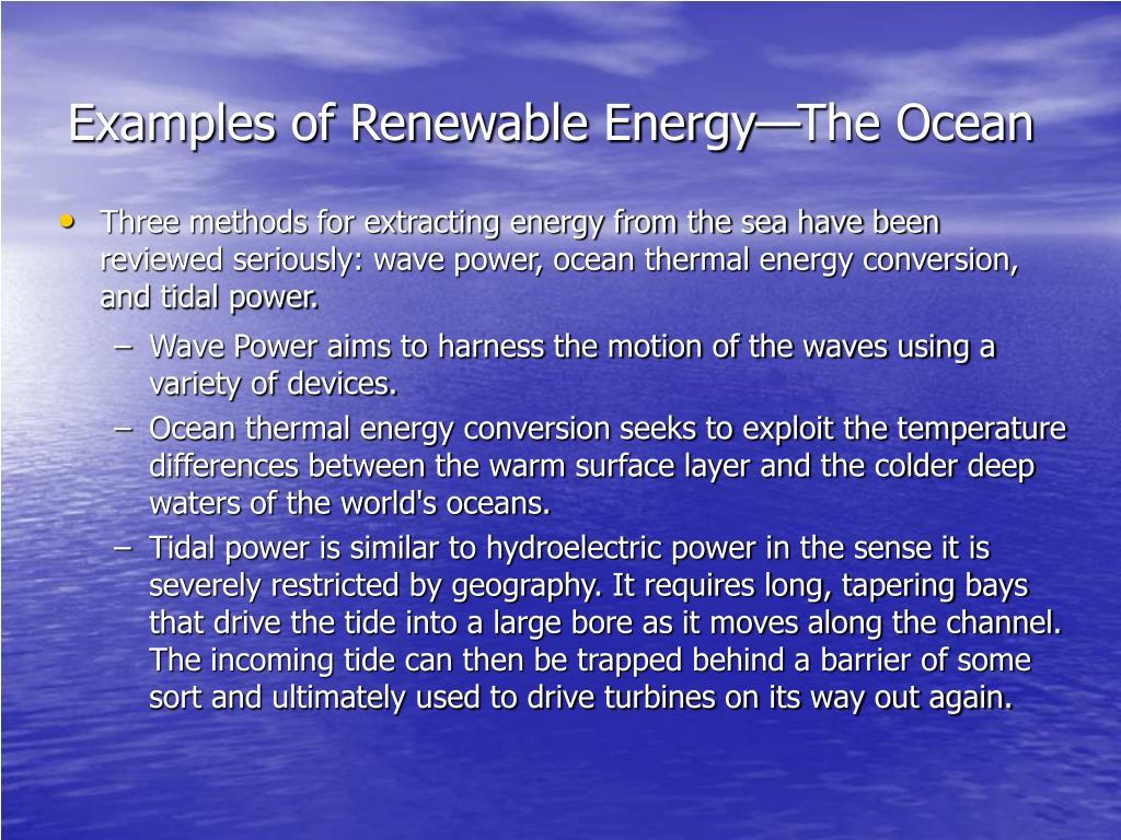 Examples of Renewable Energy—The Ocean