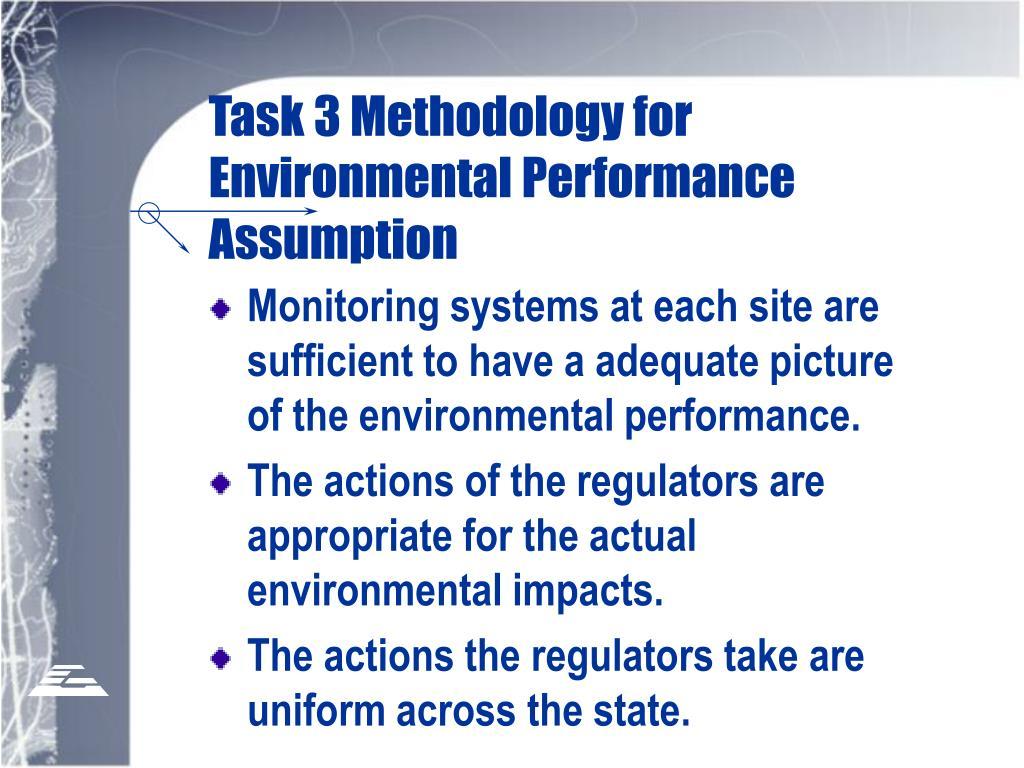 Task 3 Methodology for Environmental Performance Assumption