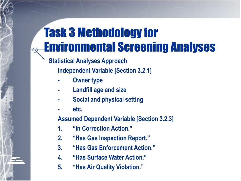 Task 3 Methodology for Environmental Screening Analyses