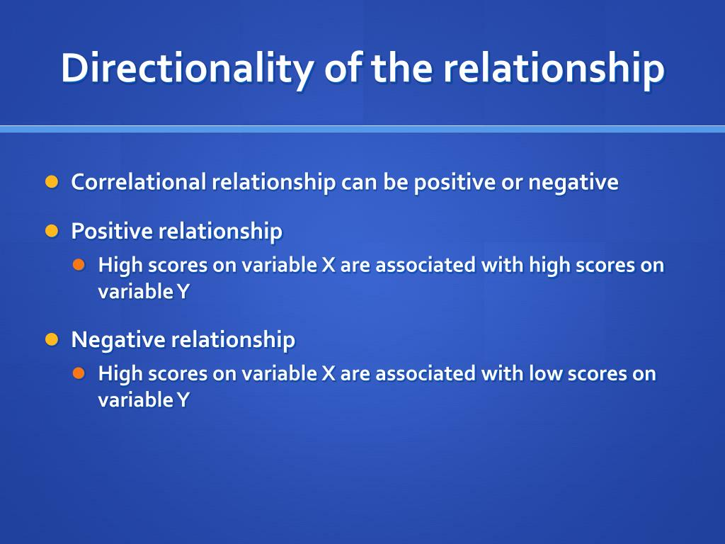 Directionality of the relationship