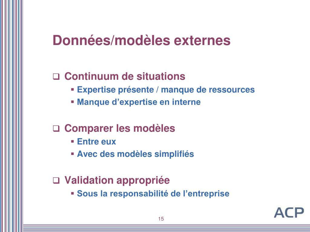 Données/modèles externes