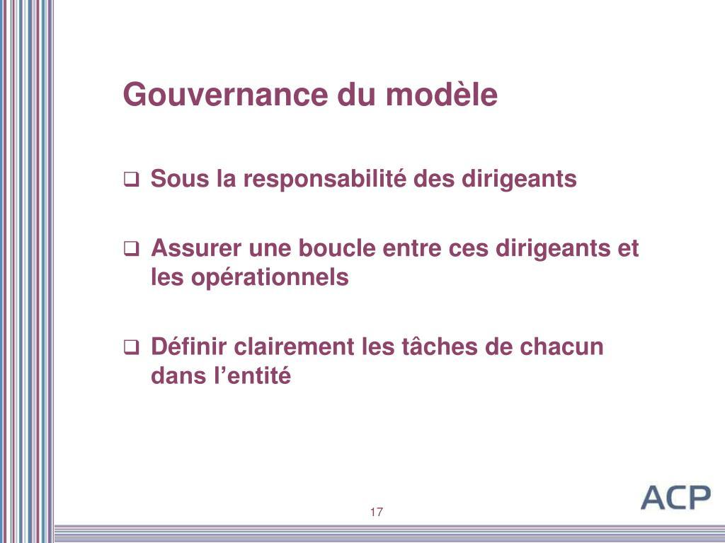 Gouvernance du modèle