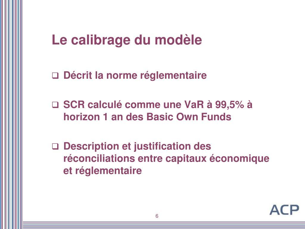 Le calibrage du modèle