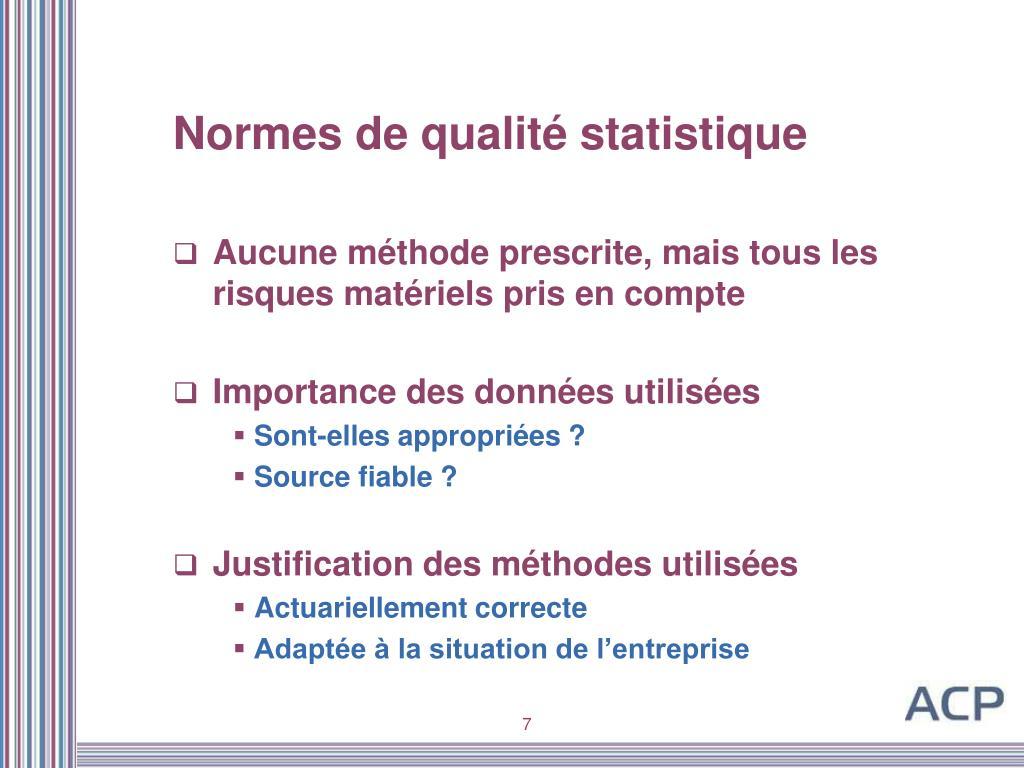 Normes de qualité statistique