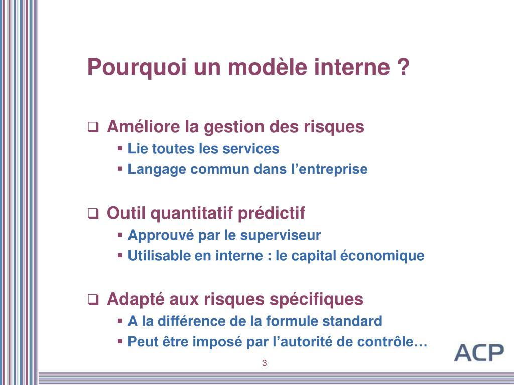 Pourquoi un modèle interne ?