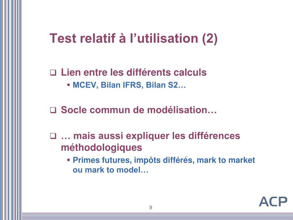 Test relatif à l'utilisation (2)