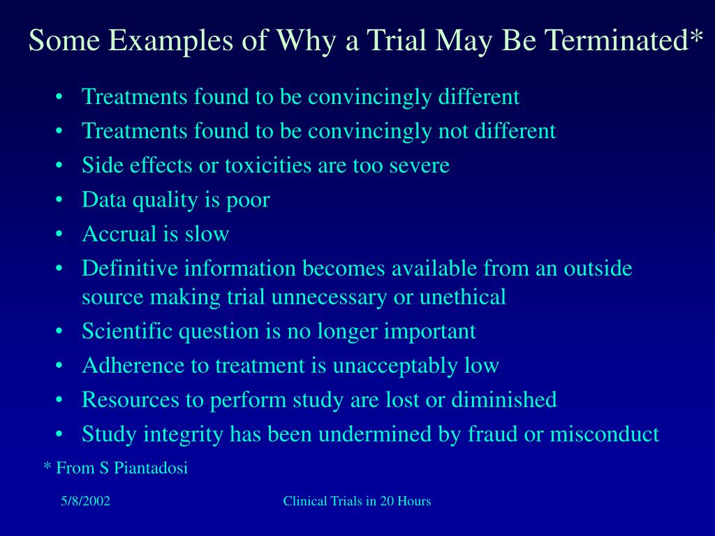 Some Examples of Why a Trial May Be Terminated*