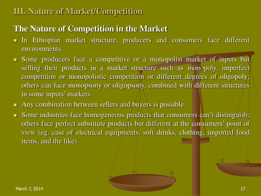 III. Nature of Market/Competition