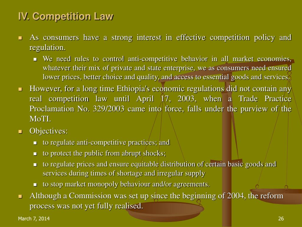 IV. Competition Law