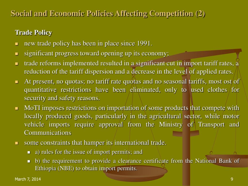 Social and Economic Policies Affecting Competition (2)