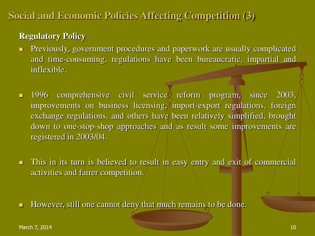 Social and Economic Policies Affecting Competition (3)