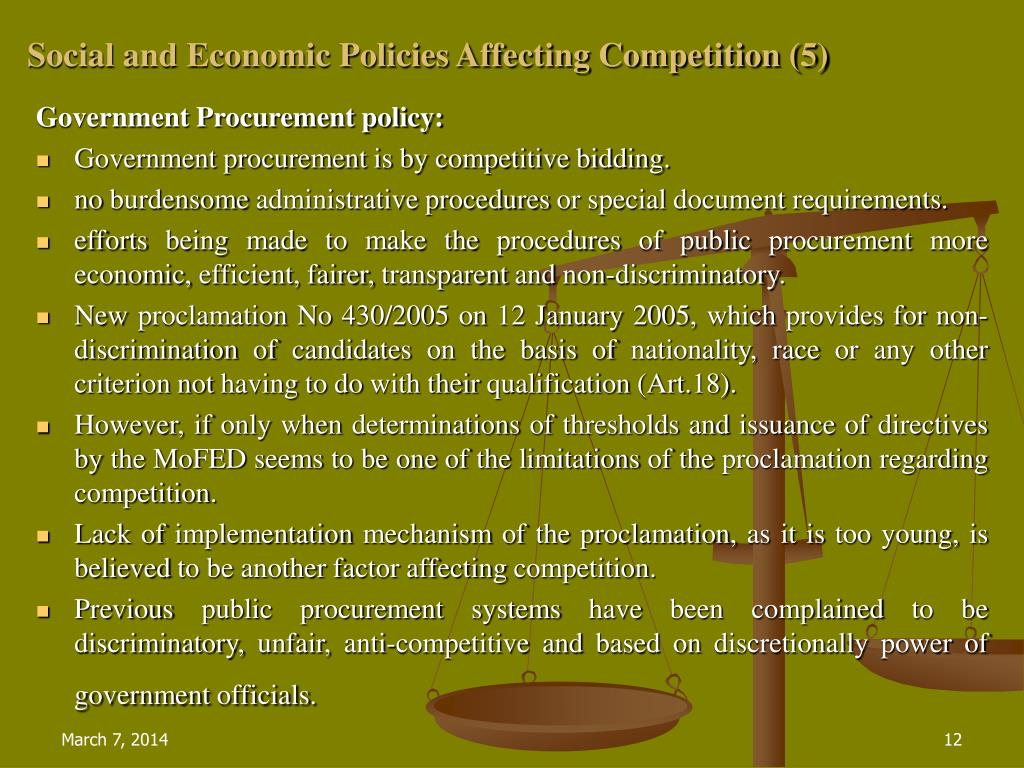 Social and Economic Policies Affecting Competition (5)