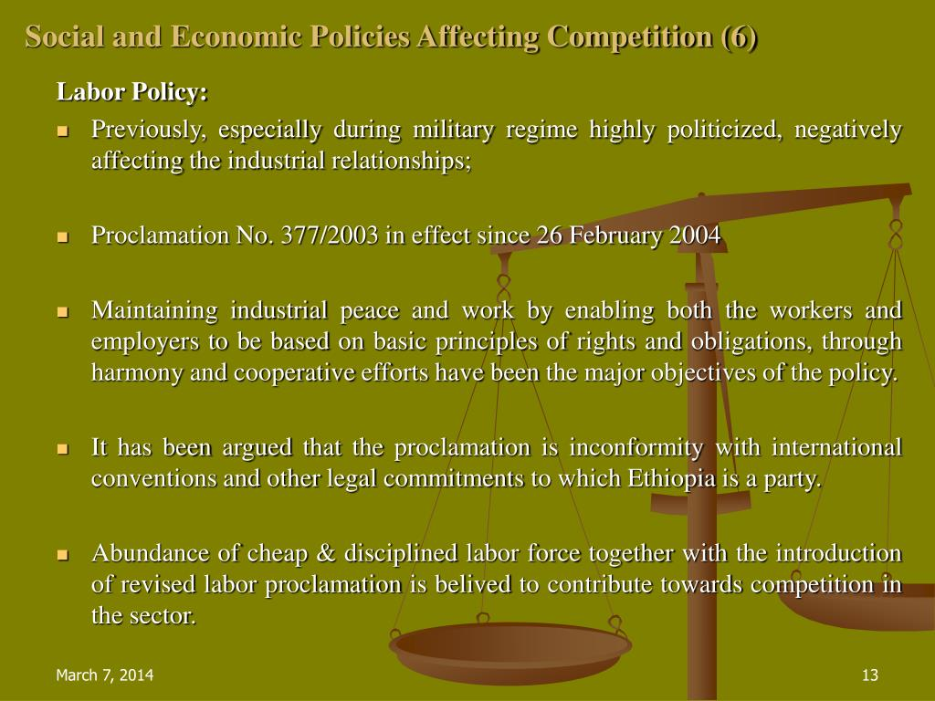 Social and Economic Policies Affecting Competition (6)