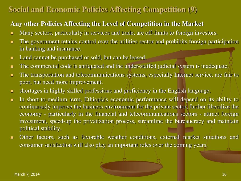 Social and Economic Policies Affecting Competition (9)