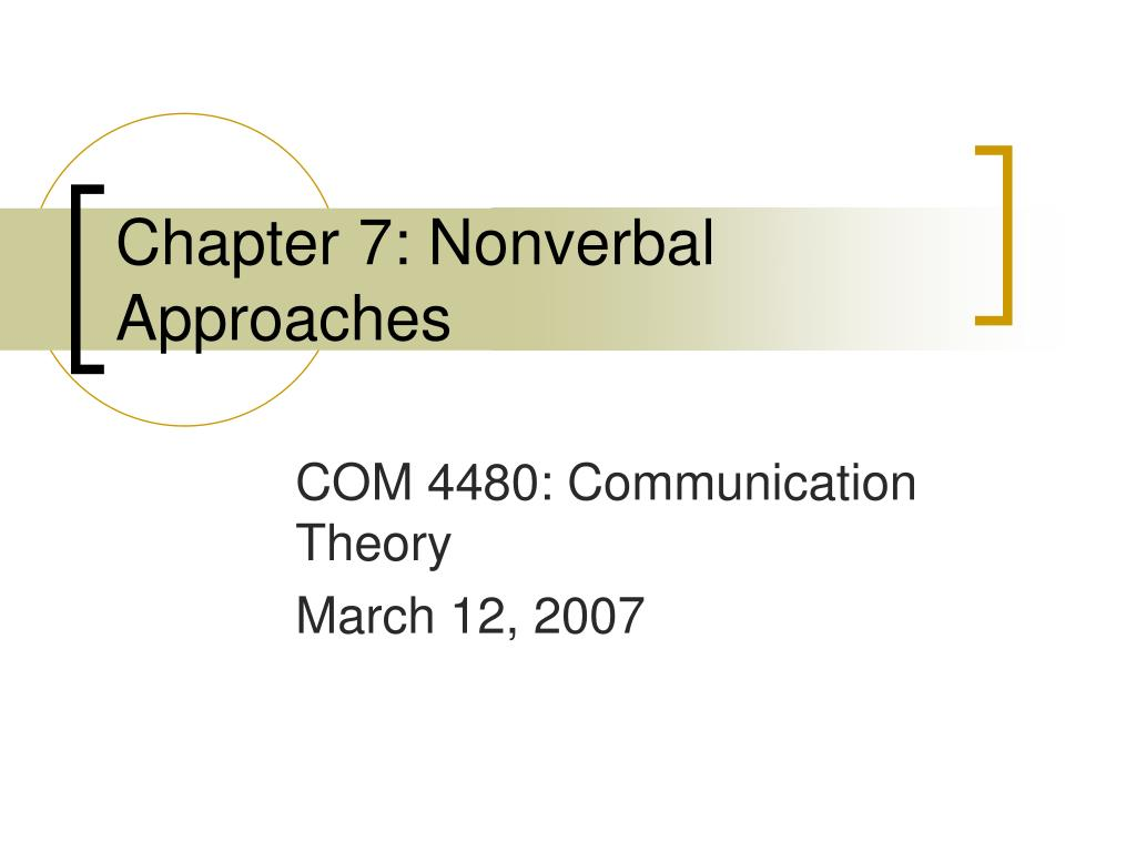 Chapter 7: Nonverbal Approaches