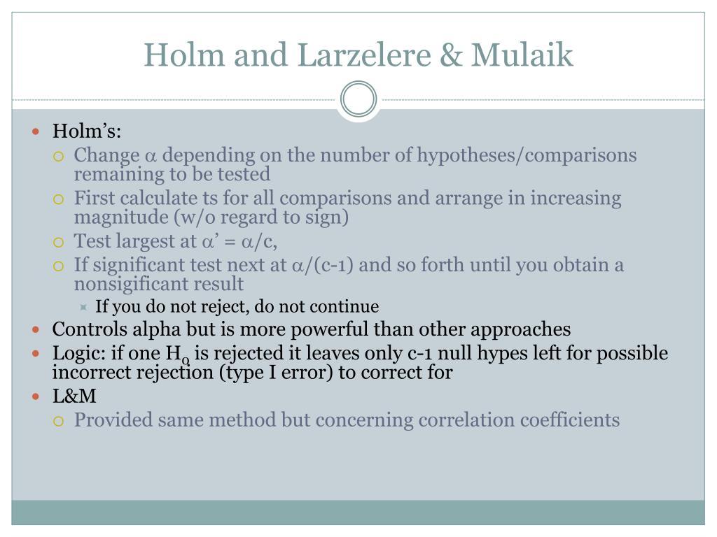 Holm and Larzelere & Mulaik
