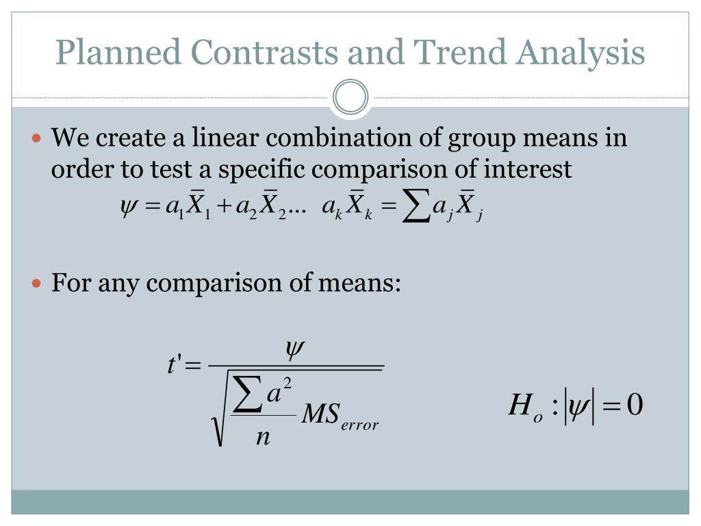 Planned Contrasts and Trend Analysis