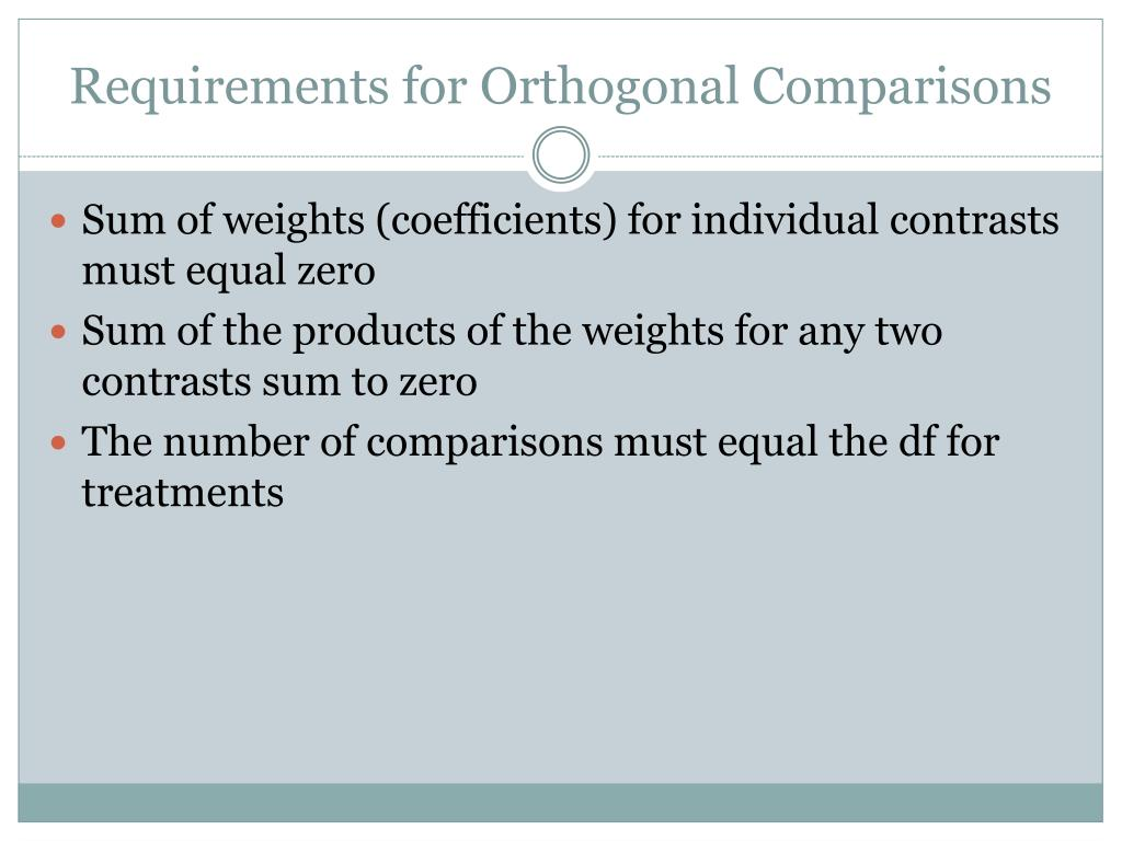 Requirements for Orthogonal Comparisons