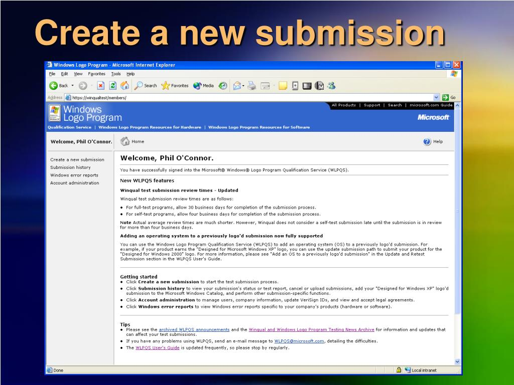 Create a new submission