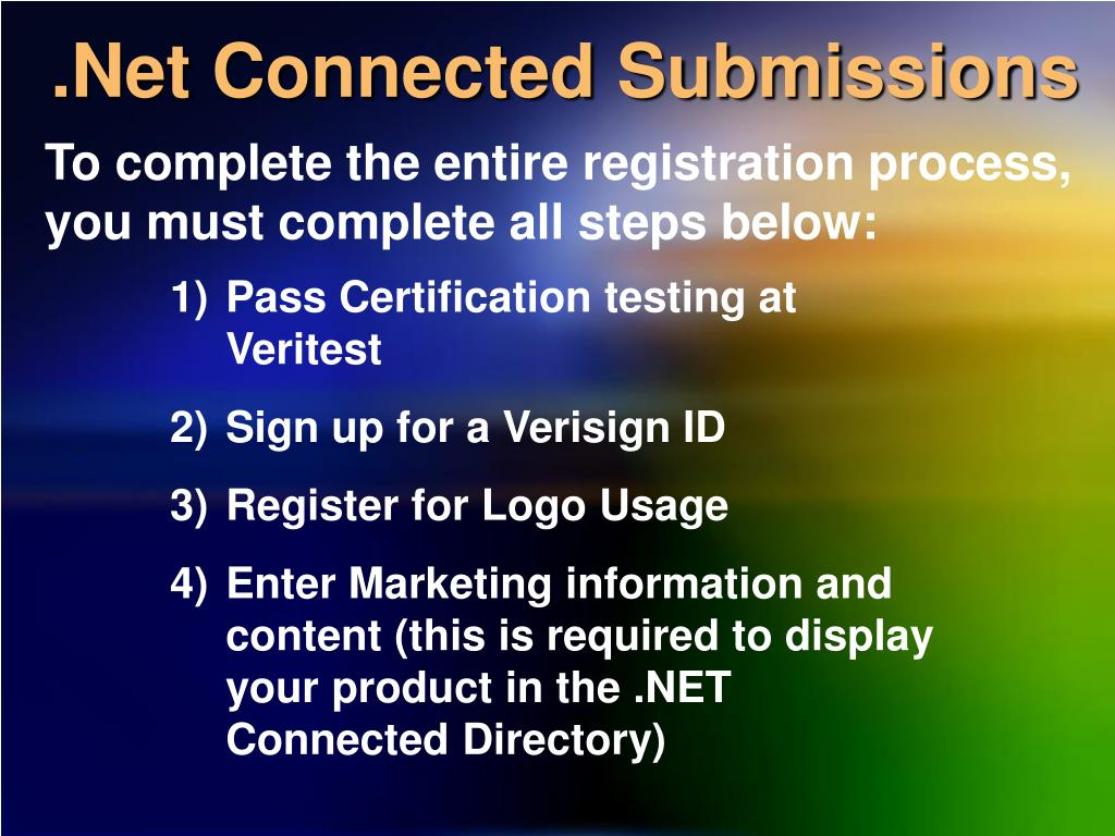 .Net Connected Submissions
