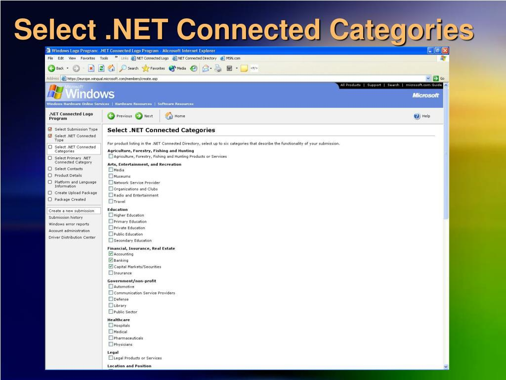 Select .NET Connected Categories