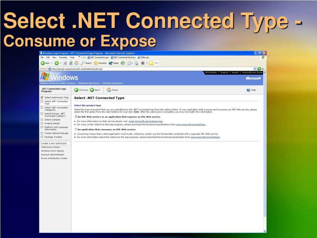 Select .NET Connected Type -