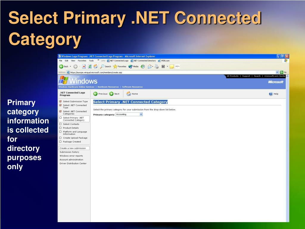 Select Primary .NET Connected Category
