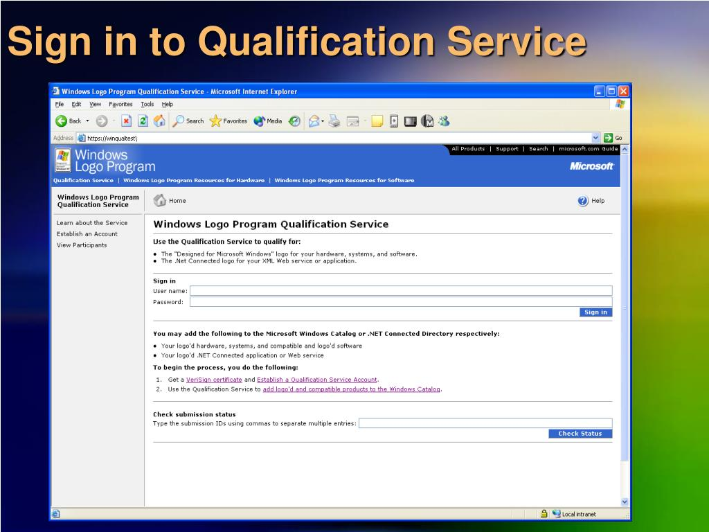Sign in to Qualification Service