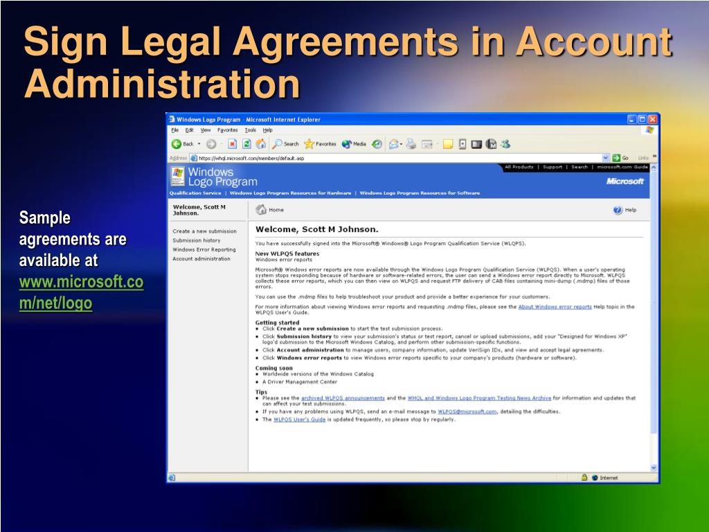 Sign Legal Agreements in Account Administration