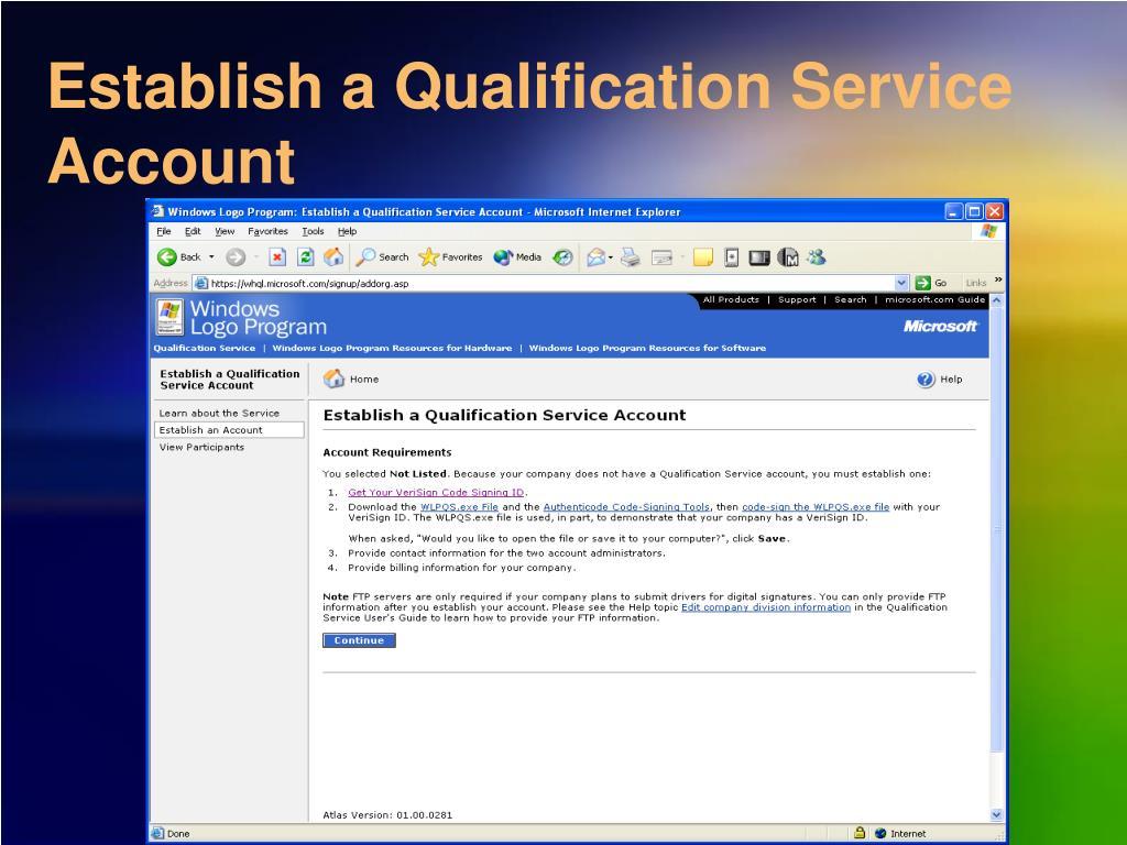 Establish a Qualification Service Account