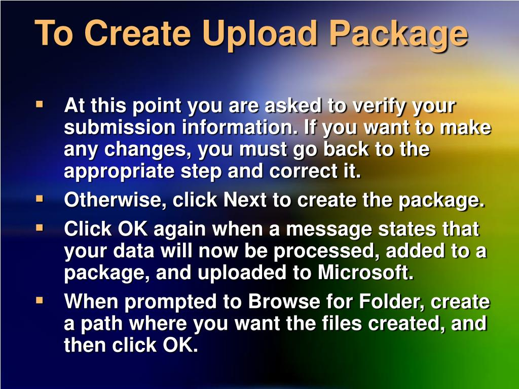 To Create Upload Package