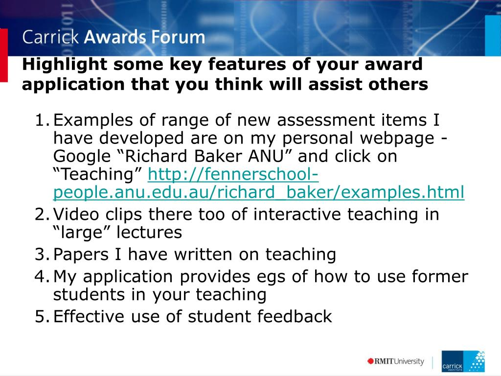 Highlight some key features of your award