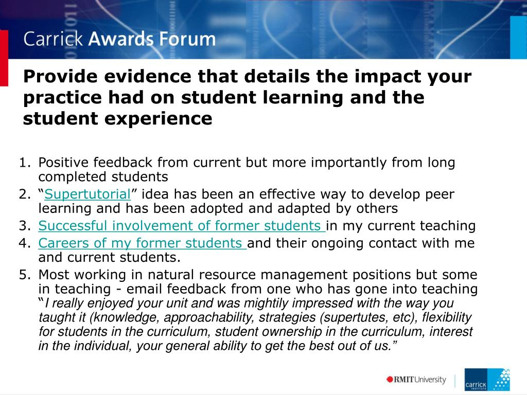 Provide evidence that details the impact your