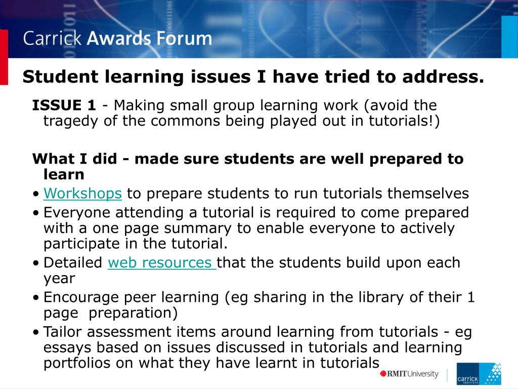 Student learning issues I have tried to address.
