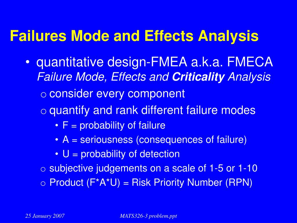 Failures Mode and Effects Analysis