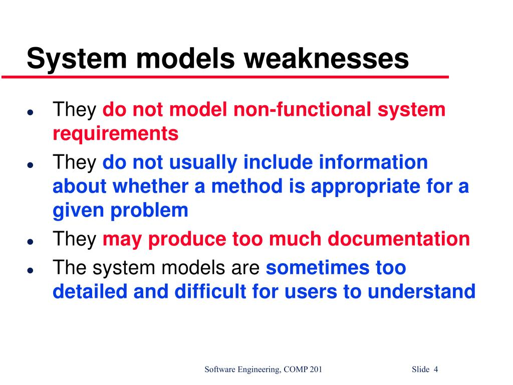 System models weaknesses