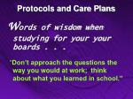 protocols and care plans10