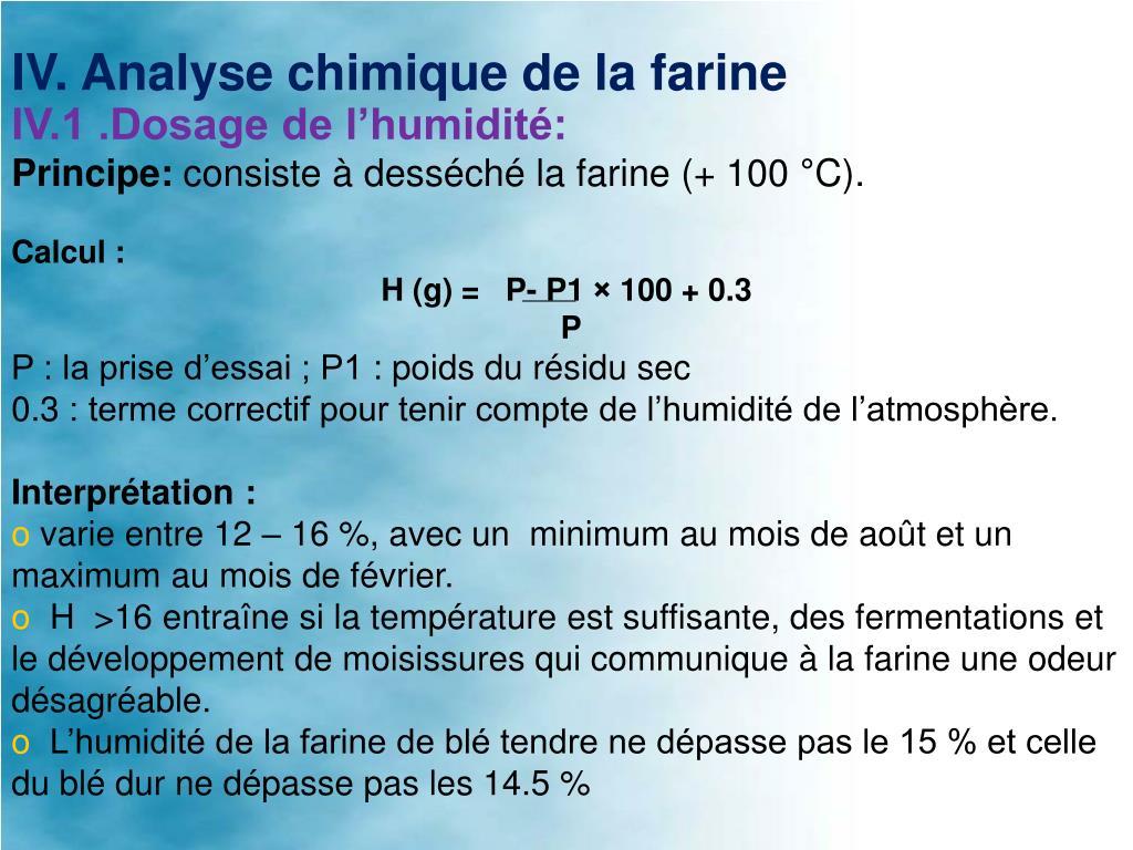 IV.1 .Dosage de l'humidité