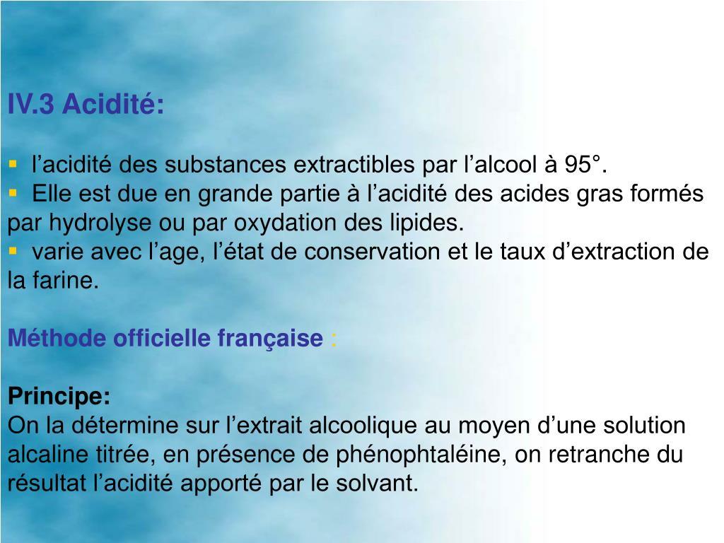 IV.3 Acidité: