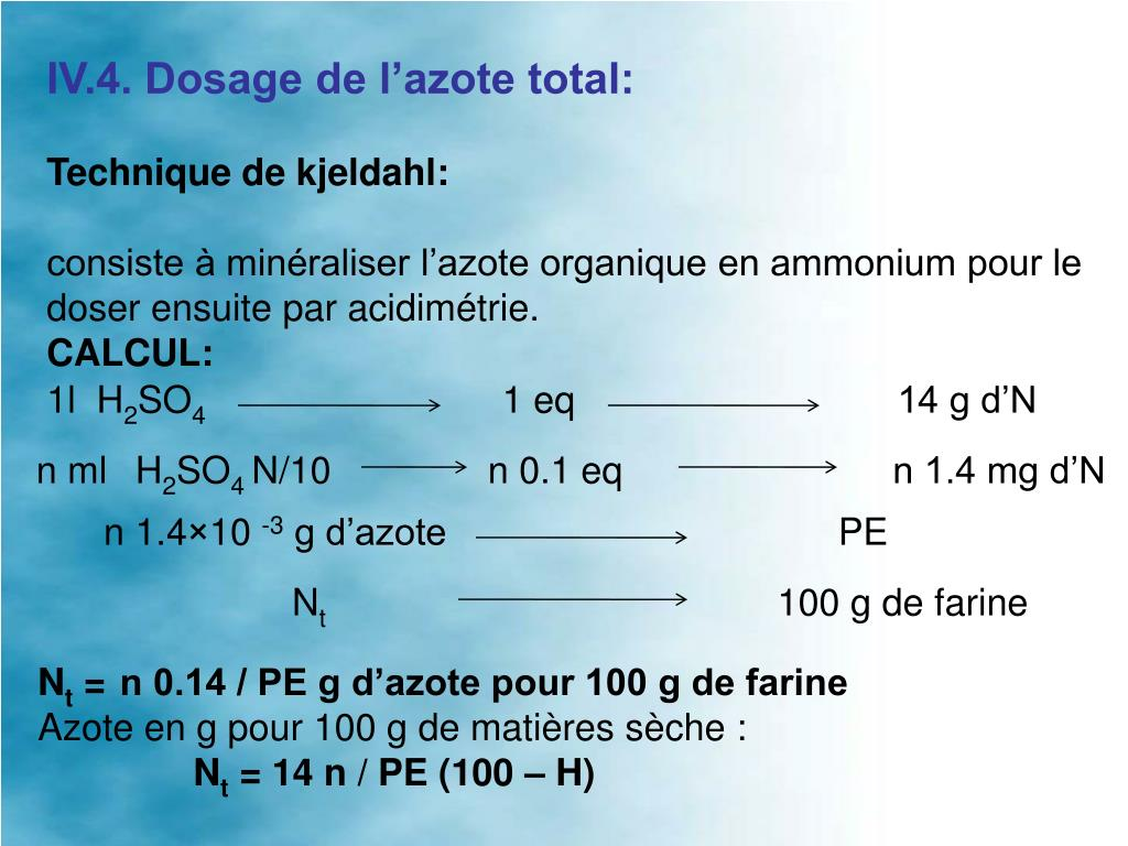 IV.4. Dosage de l'azote total: