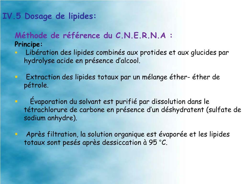 IV.5 Dosage de lipides: