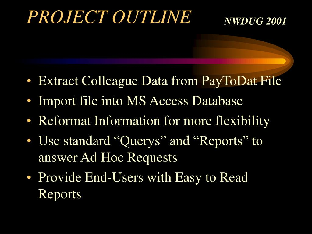PROJECT OUTLINE