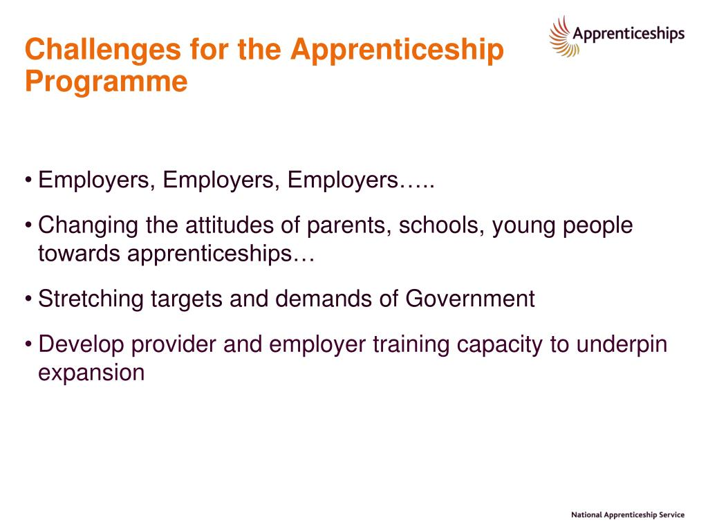 Challenges for the Apprenticeship Programme