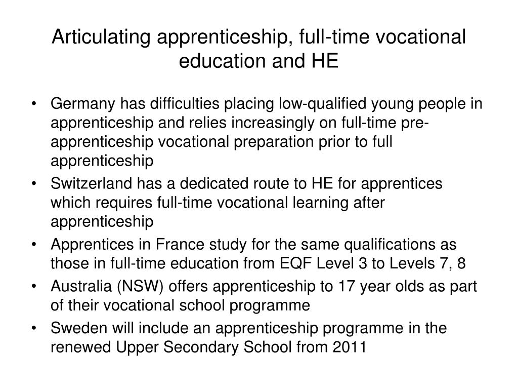 Articulating apprenticeship, full-time vocational education and HE