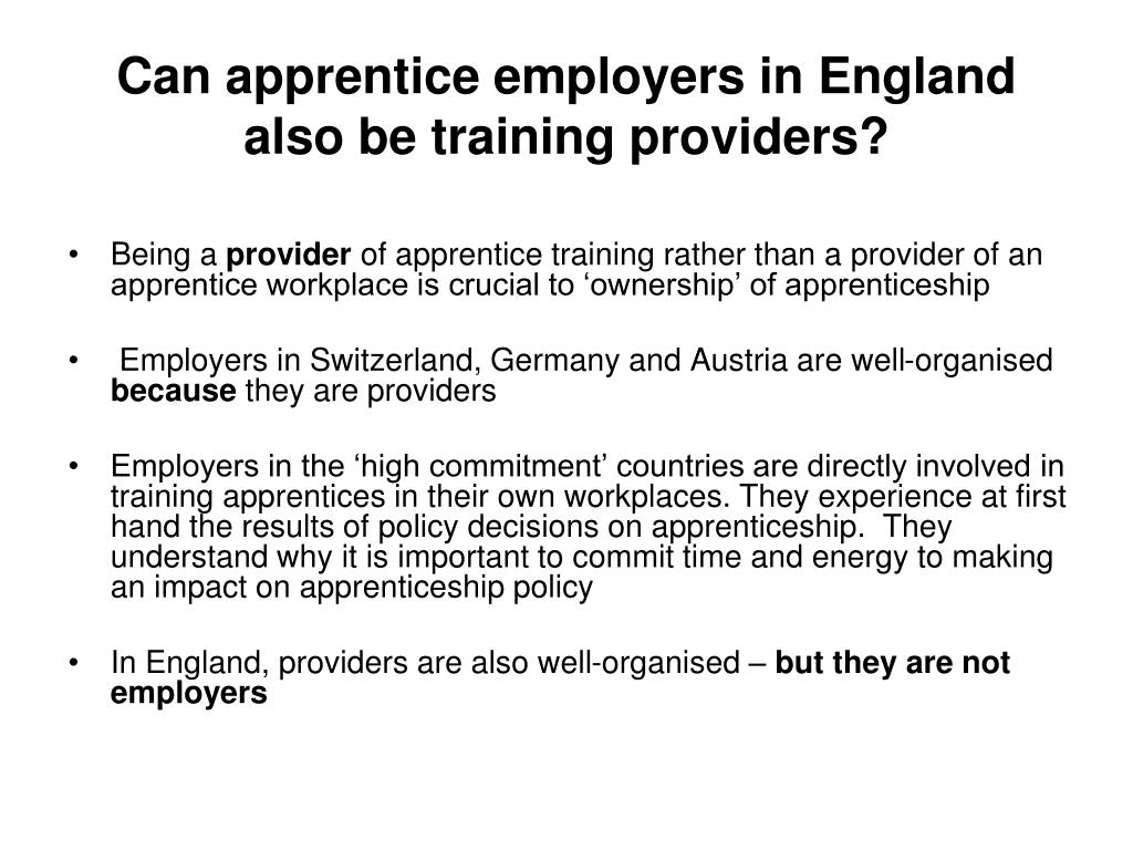 Can apprentice employers in England also be training providers?