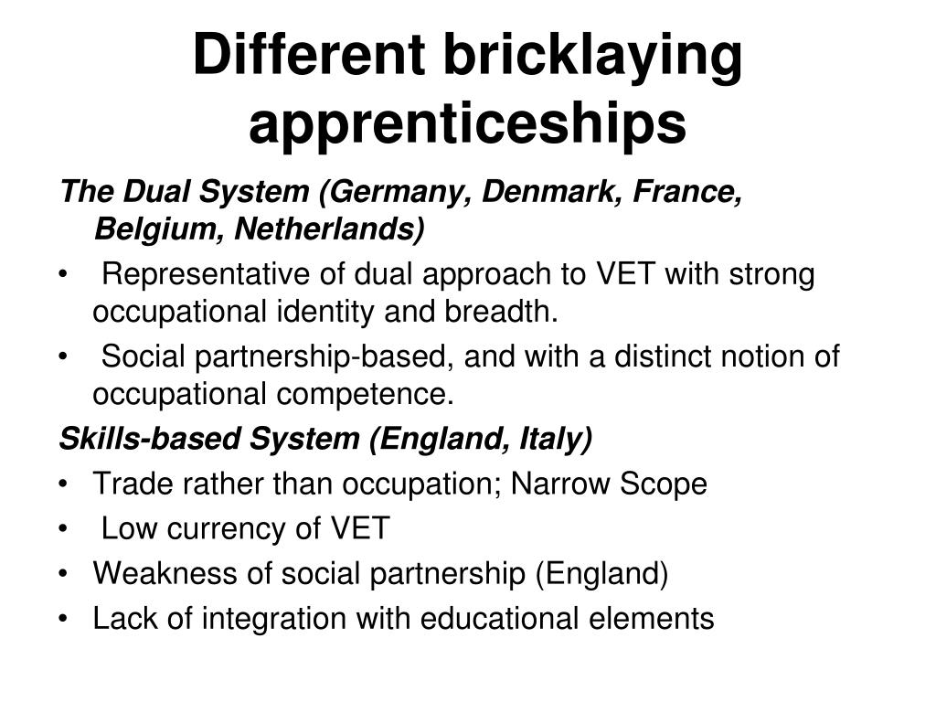Different bricklaying apprenticeships
