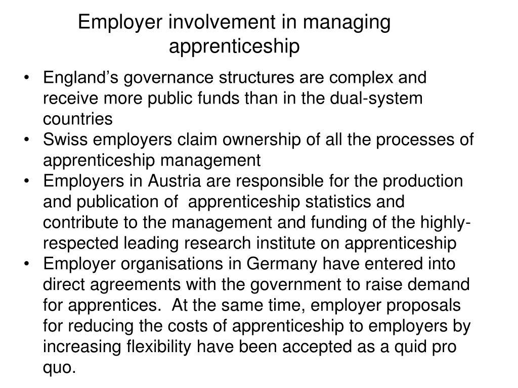 Employer involvement in managing apprenticeship